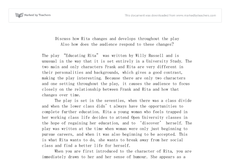 Educating rita essay how rita changes