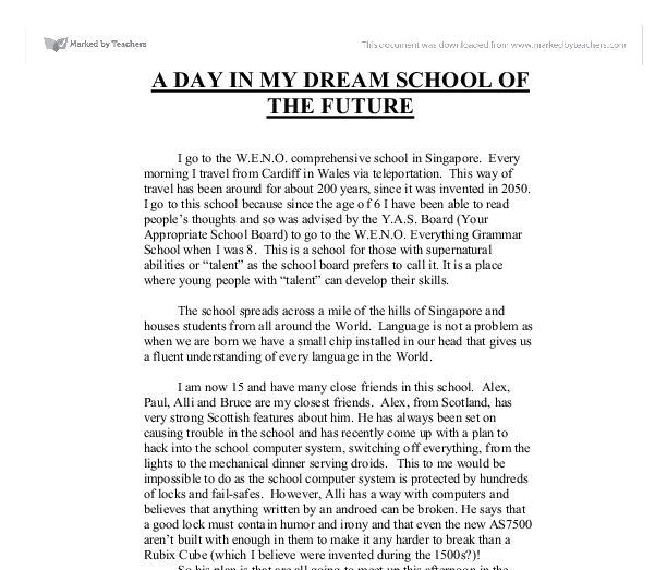 My Dream School Essay In English Sample Business School Essays