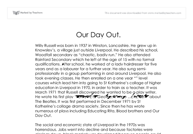 our day out english coursework Our day out by willy russell: coursework planning by our day out by willy russell: courseworka resource with a list of english activities that complement the study of any cla by tesenglish (37) free our day out analysis english coursework our day out analysis english coursework.