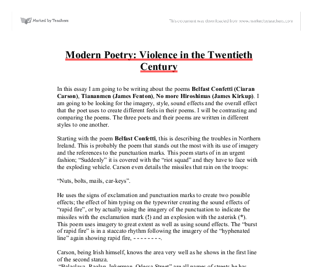twentieth century poetry essay View twentieth century american poetry research papers on academiaedu for free.