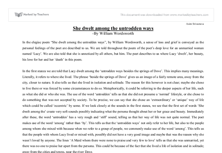 she dwelt among the untrodden ways analysis essay