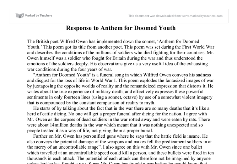 Wilfred Owen- Anthem for Doomed Youth Essay