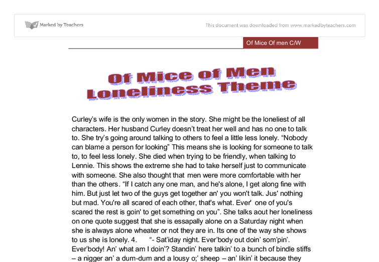 of mice and men loneliness essay with quotes Free essay on loneliness in of mice and men available totally free at echeatcom, the largest free essay community.