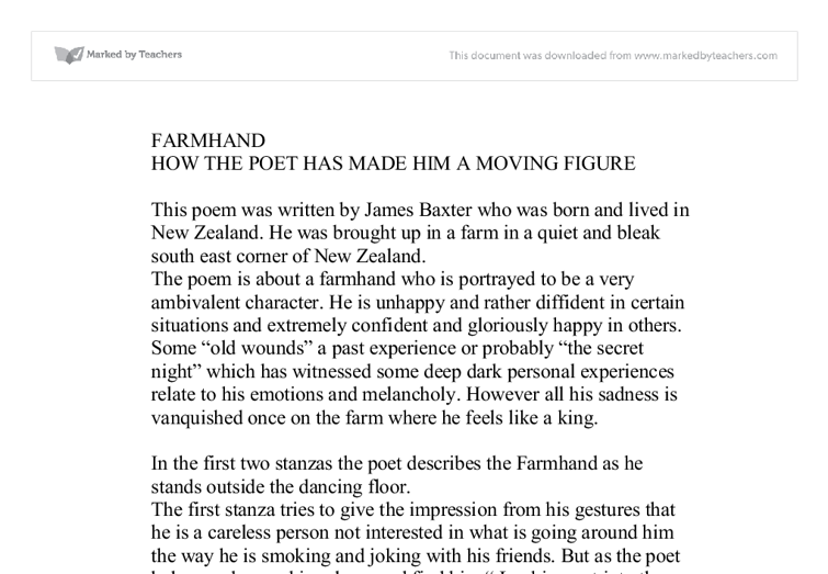 farmhand by james baxter essay What is poem in the matukituki valley by james k baxter about save cancel already exists would you like to how do you analyze the poem farmhand by james k baxter.
