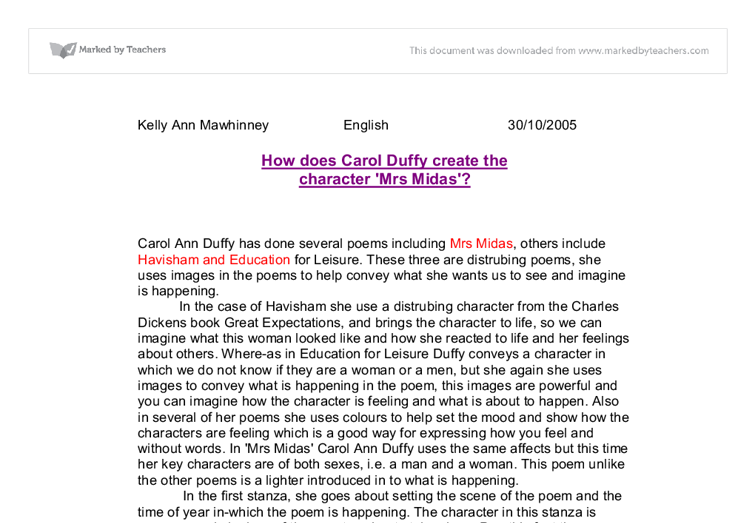 mrs midas essay There are resources here for mrs midas and originally (including ppts annotating the poems) as well as general revision stuff for all the poems i previously put stuff on here for valentine, havisham and anne hathaway which you should be able to find my clicking on the tag at the bottom of this post.