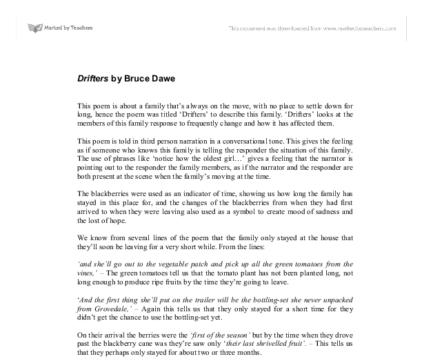 drifters by bruce dawe gcse english marked by teachers com document image preview
