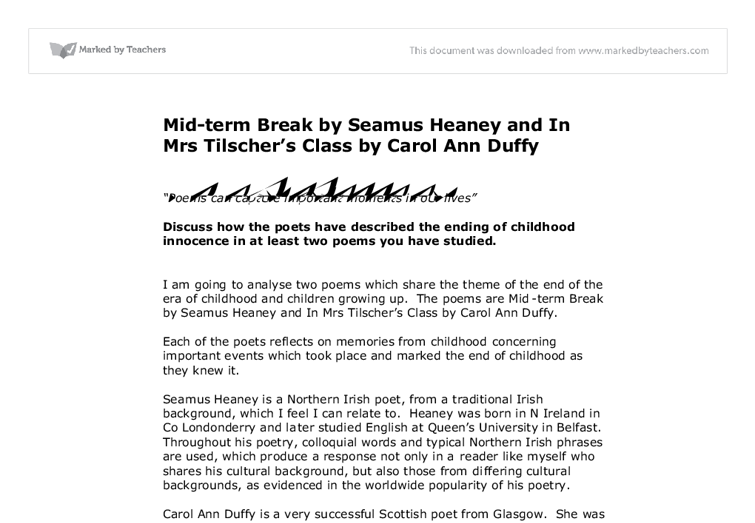 mid term break by seamus heaney essays