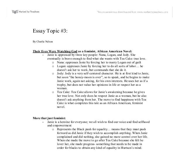 5 paragraph essay on their eyes were watching god Literature essay their eyes were watching god by zora neale hurston essay example new essays on their eyes were watching god - book reviews 2010.