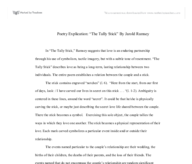 poetry explication the tally stick by jarold ramsey  document image preview