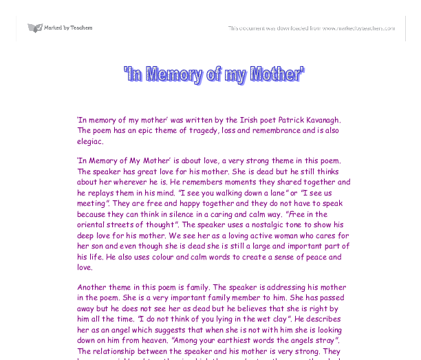 The second part of my essay about my mother.