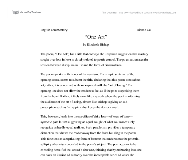 one art by elizabeth bishop gcse english marked by teachers com document image preview
