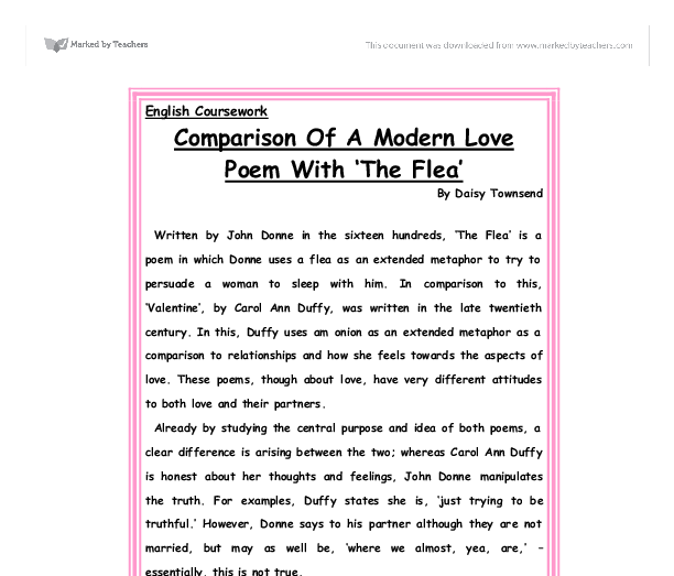 "compare two love poem Comparison: sample literary essay, two poems identify & introduce each piece and conclude with the thesis--the point you are making about the two pieces the aesthetic movement, as exemplified by ""the indian to his love,"" by w b yeats, seems lifeless and insipid when compared to his ""the hosting of the sidhe""."