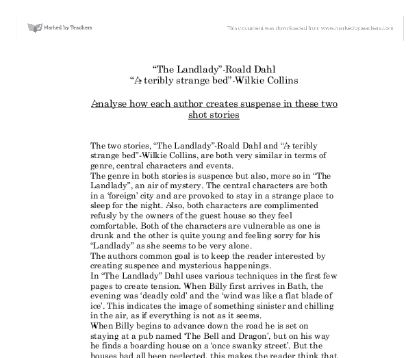landlady thesis Download thesis statement on 'the landlady' by roald dahl in our database or order an original thesis paper that will be written by one of our staff writers and delivered according to the.