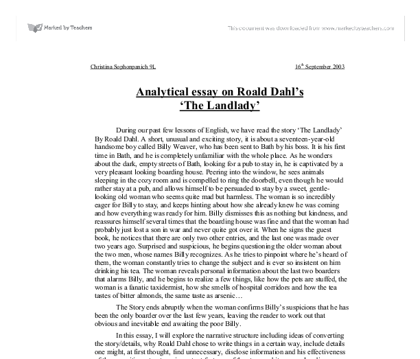 analytical essay on roald dahl s the landlady gcse english  document image preview