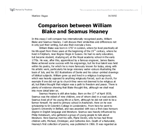a comparison of two poems by seamus heaney and william shakespeare Any ideas on how to compare hamlet to mid-term break by seamus heaney and son to william shakespeare's hamlet seamus heaney compare the two poems.