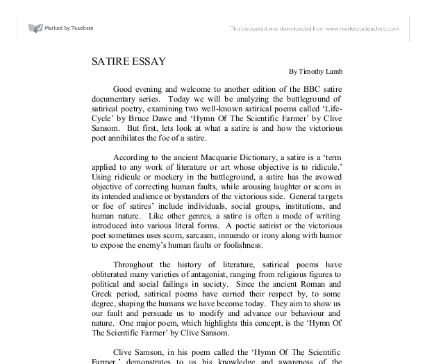 An Essay On An Essay (analysis Of A Satirical Essay) - With A Free