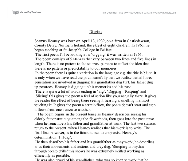 "seamus heaney digging essay ""digging"" by seamus heaney is the first poem in the first full volume of heaney's poems, ""death of a naturalist"" ""death of a naturalist"" is about the."