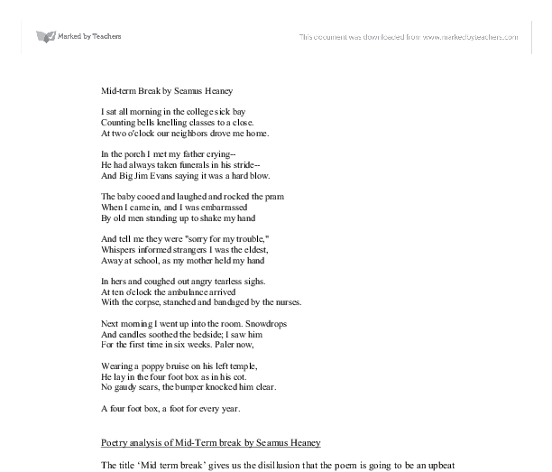 essay on seamus heaney poetry Seamus heaney was born on april 13, 1939, in castledawson, county derry, northern ireland he earned a teacher's certificate in english at st joseph's college in.