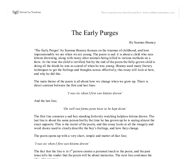 the early purges by seamus heaney focuses on the traumas of  document image preview