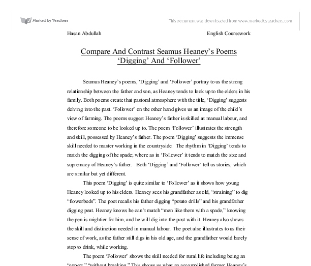 essay on follower by seamus heaney Ministry of fear- seamus heaney analysis essay the second poem i am going to analyse is follower which tells the story of a young boy who grows up admiring.