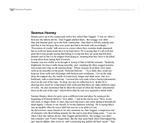 seamus heaney an advancement of learning essay