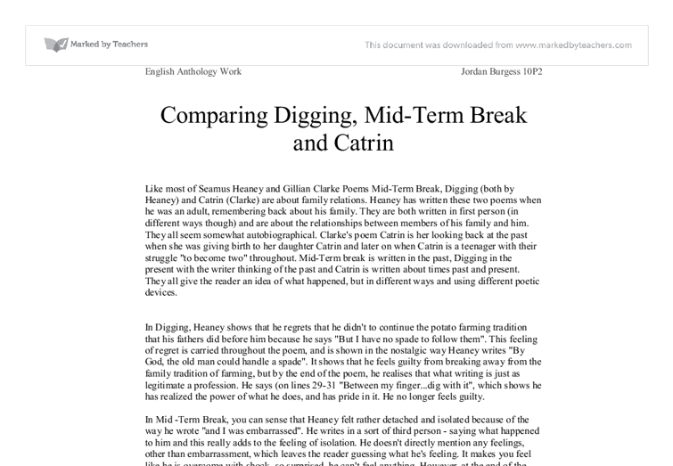 essay on mid term break Critical essay-poetry mid-term break darren parker sйamus heaney's mid-term break is among the few poems that have emotionally moved me.