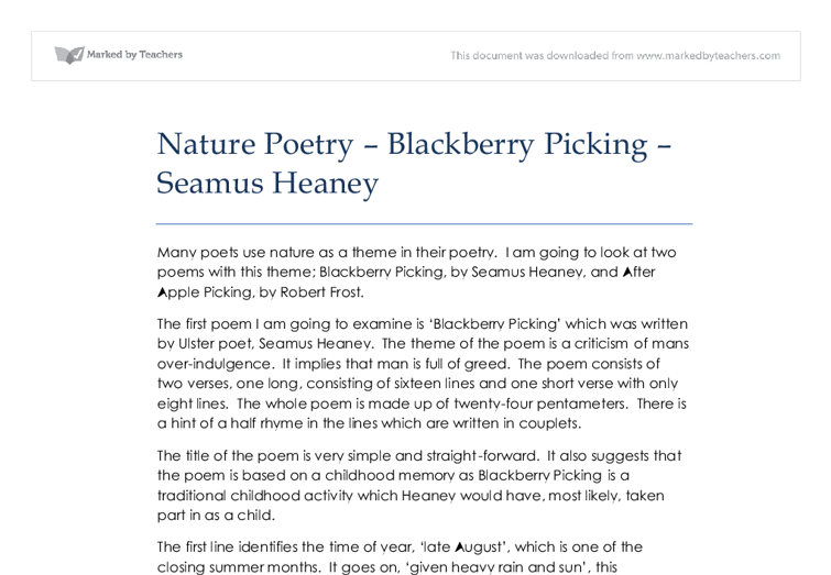 critical essays on blackberry picking We will write a custom essay sample on galway kinnell's blackberry eating   between the pleasurable experience of picking and eating tasty blackberries and .