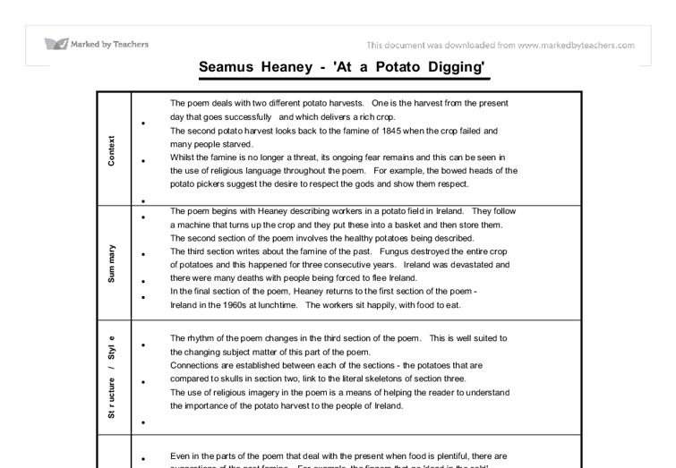 gcse english seamus heaney at a potato digging follower  document image preview