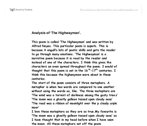 The highwayman essay