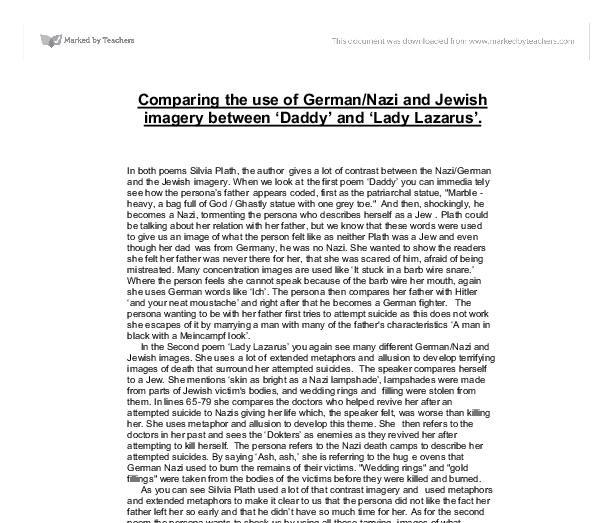 comparing the use of german nazi and jewish imagery between daddy  document image preview