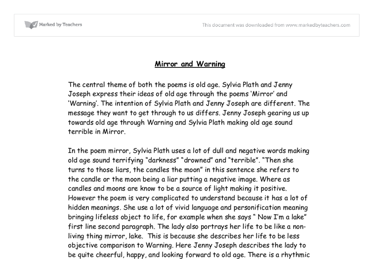"thesis statement for the poem mirror by sylvia plath Personal statement ""mirror"" by sylvia plath essay example analysis of mirror by sylvia plath essay example the poem mirror is adeptly exploring and."