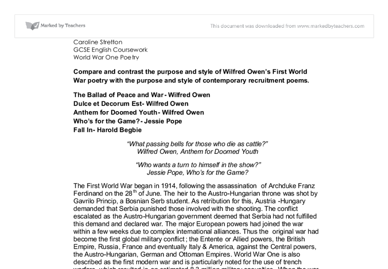 Gcse war poetry essay