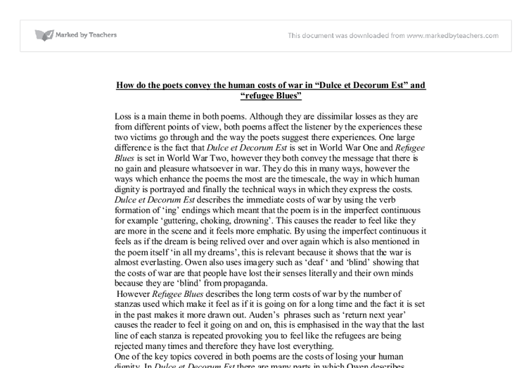 refugee blues essay example This is a low grade c essay this gives examples of the oldest and youngest of the populus a mother in a refugee camp (1.