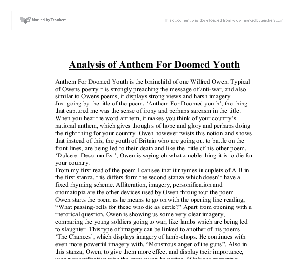 analysis of anthem for doomed youth gcse english marked by  document image preview