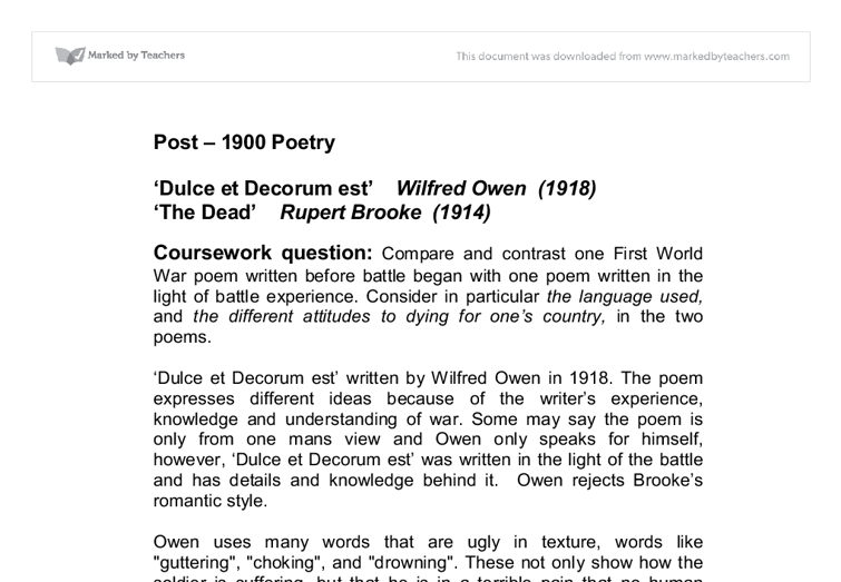 english war poetry coursework After blenheim is a poem that illustrates the pointlessness of war written 94 years after the battle of blenheim at the war ground, it is the aftermath of war it.