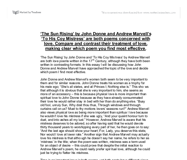 the sun rising by john donne and andrew marvell s to his coy  document image preview