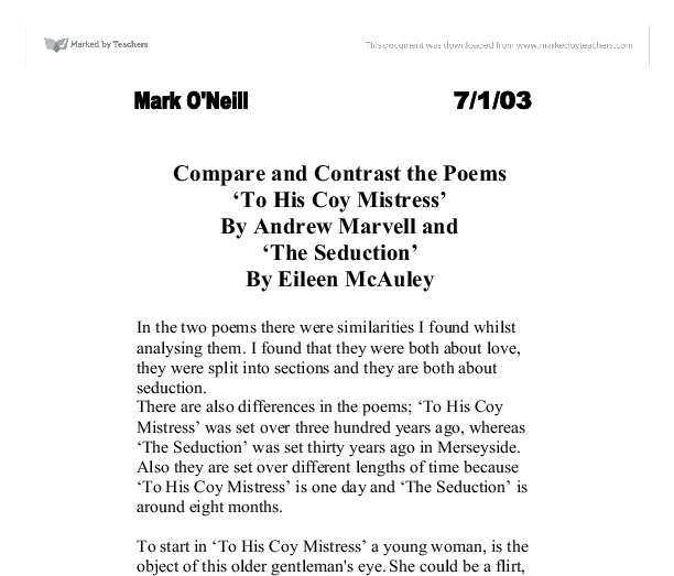 "a comparison of carpe diem in to his coy mistress by andrew marvell and ode on a grecian urn by john Free essay: andrew marvell's to his coy mistress and john donne's flea  andrew marvell and john donne both wrote ""carpe diem"" poetry full of vivid  imagery."