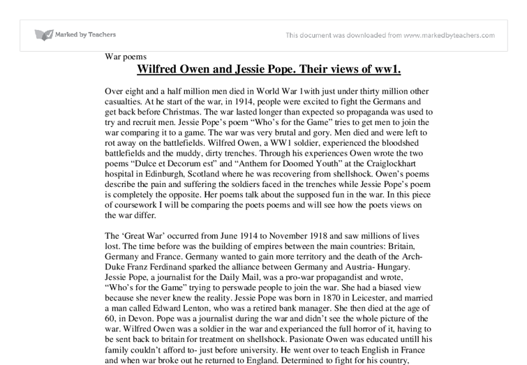 an analysis of whos for the game by jessie pope essay Written in 1914 pro-war propaganda who's for the game,  written by jessie pope diction personification rhetorical questions who'll give his country a hand.