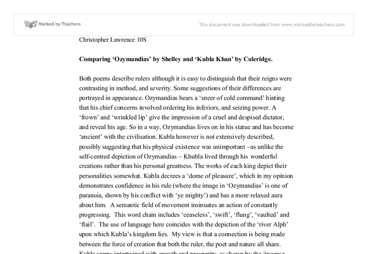 poetry analysis comparing ozymandias to khubla khan gcse  document image preview