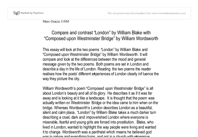 comparison and contrast between blake and wordsworths views essay Comparison and contrast between blake and wordsworth's views on london with poems london and london,  london compare and contrast poem essay.