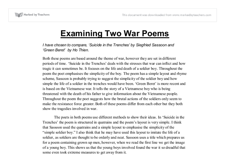 siegfried sassoon suicide in the trenches essay Essay writing guide suicide in the trenches - siegfried sassoon on the other hand looking at suicide in the trenches it seems in this poem its prevails more.