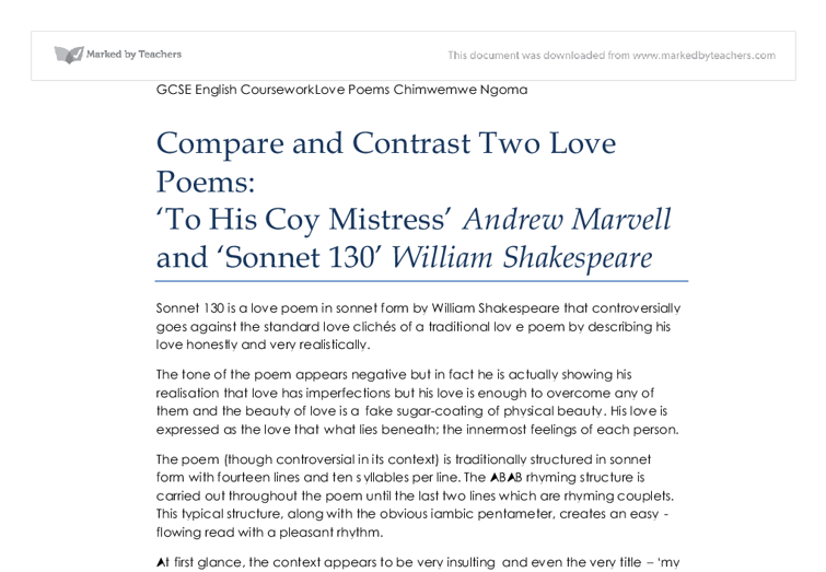 Poem to His Coy Mistress Andrew Marvell