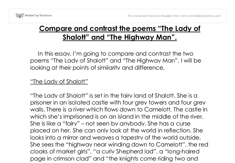 Compare and contrast the poems The Lady of Shalott and The Highway ...