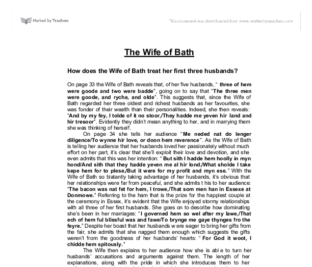 how does the wife of bath treat her first three husbands gcse  document image preview