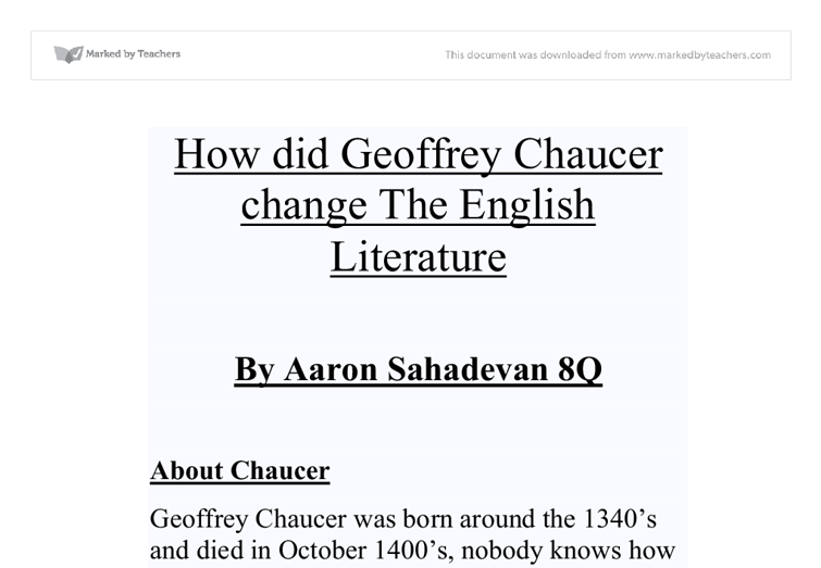 geoffrey chaucer essay Essays, the canterbury tales - essays on geoffrey chaucer's tales.