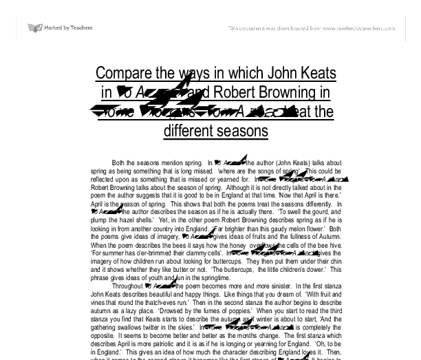 John keats to autumn essay
