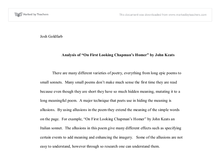 Analysis Of On First Looking Chapmans Homer By John Keats Gcse