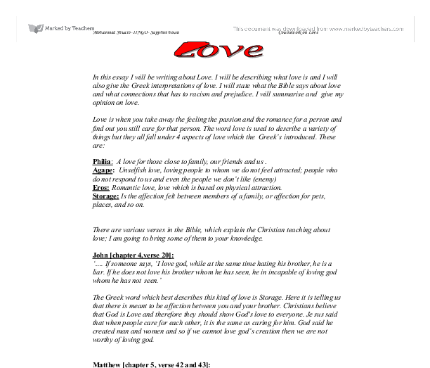 definition essays on love