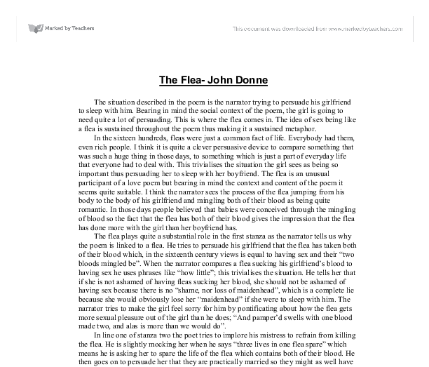 analysis of john donnes poem the flea