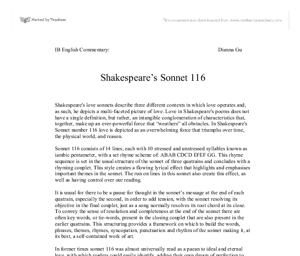 essay on sonnet 116 An essay planning table (with teacher notes) for a comparison of 'sonnet 116' and 'remember' suitable for students taking the edexcel igcse english literature paper.